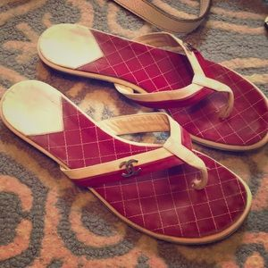 Chanel Red & White Thong Sandals 38 7